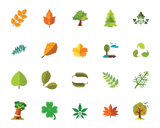 Набор иконок деревьев и листьев