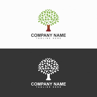 Trees and leaves logo design