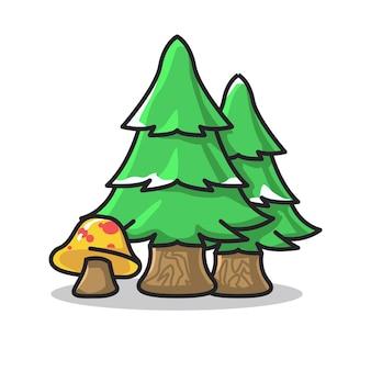 귀여운 라인 아트 그림에 작은 눈이 있는 나무와 버섯