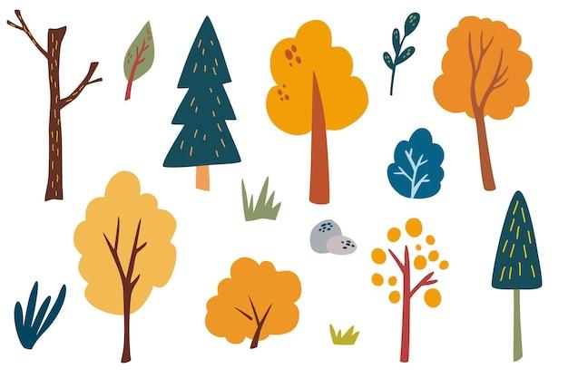 Деревья и кустарники. коллекция клипарт лесных растений. рука рисовать дикий ботанический набор. осенью различные виды деревьев и трав. скандинавский стиль векторные иллюстрации на белом фоне.