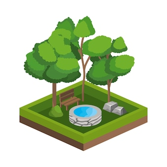 Деревья и дизайн источника воды
