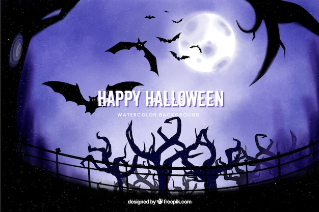 Trees and bats halloween background