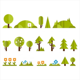 Trees, bushes and flowers set in flat style