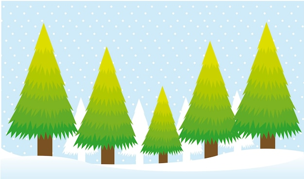 Trees card over snow background christmas vector