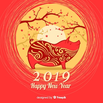 Trees chinese new year background