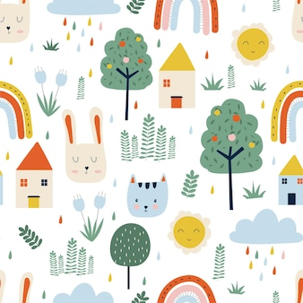 Trees, house, sun, cats and rabbits cute drawings seamless pattern on white background