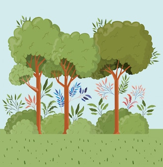 Trees and leafs with bush landscape scene