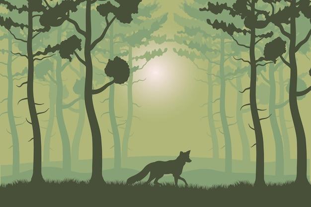 Деревья, растения и лиса в зеленом лесу, пейзажной иллюстрации