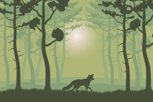 Trees plants and fox in green forest landscape scene  illustration