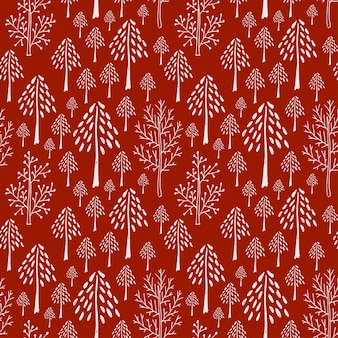 Trees seamless pattern in red colors