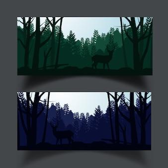 木のシルエットの背景