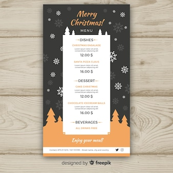 Trees silhouette menu template