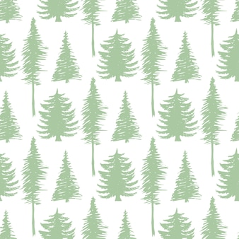 Trees silhouette seamless patten. vector ecology backdrop.