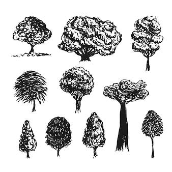 木のシルエットベクトル装飾。手描きのスケッチ孤立したセット