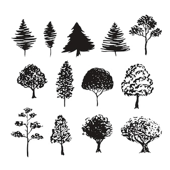 Trees silhouette vector decoration. hand drawn sketches isolated set