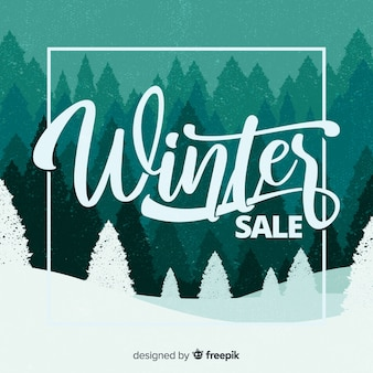 Trees silhouette winter sale background