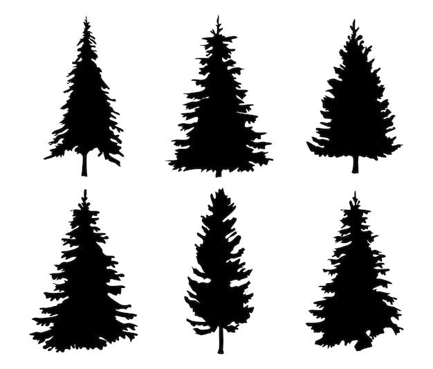 木のシルエットセット