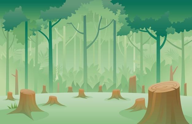Пень деревьев и фон обезлесения