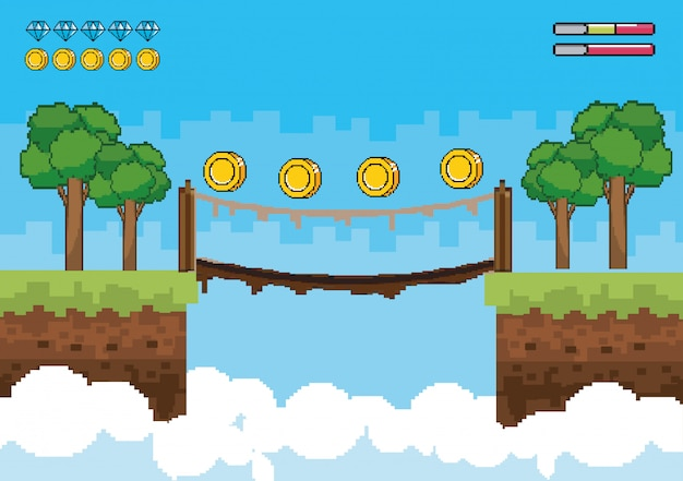 Trees with coins in the suspension bridge and life bars