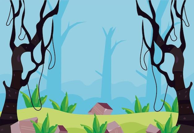 덩굴 식물이있는 나무