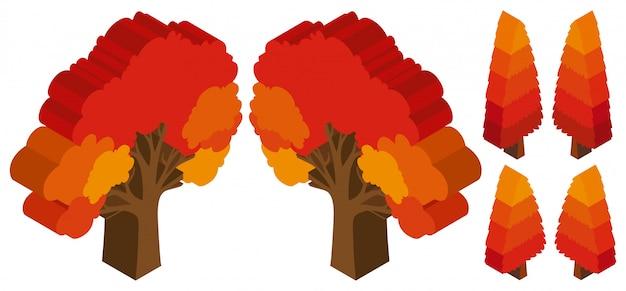 Деревья с оранжевыми листьями осенью