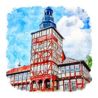 트레푸르트 독일 수채화 스케치 손으로 그린 그림