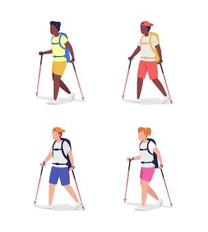 Полуплоские цветные векторные символы trekkers. фигуры путешественников. люди полного тела на белом. изолированная иллюстрация современного мультяшного стиля на свежем воздухе для коллекции графического дизайна и анимации