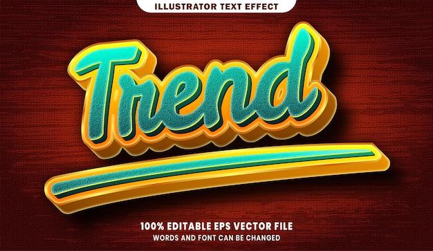 Трендовый эффект редактируемого стиля текста 3d