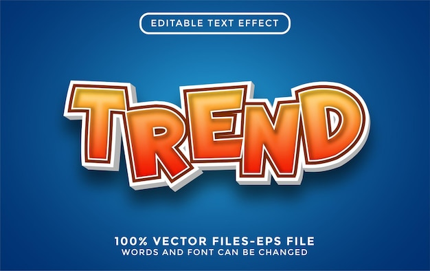 Тенденция 3d текст. редактируемый текстовый эффект в мультяшном стиле премиум векторы