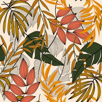 Trend abstract seamless pattern with colorful tropical leaves and plants on a light