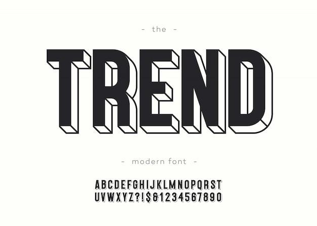 トレンドアルファベット3 d大胆なタイポグラフィ