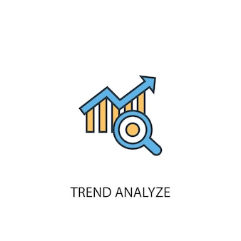 トレンド分析コンセプト2の色付きの線のアイコン。シンプルな黄色と青の要素のイラスト。トレンド分析コンセプトアウトラインシンボルデザイン