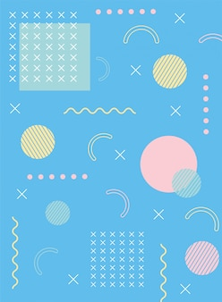 Trend designs and vintage memphis 80s 90s style abstract