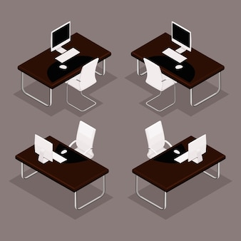 Trend isometric objects, 3d table with documents, laptop, chair, keyboard, mouse, front view, rear view, isolated