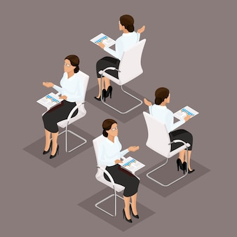 Trend isometric people 3d businesswoman working with documents, graphics, front view, rear view, stylish hairstyle, glasses, office worker man in a suit isolated