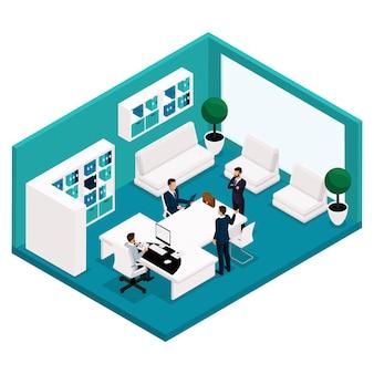トレンド等尺性の人々、部屋、オフィスマネージャーの背面図、会議、交渉、会議、ブレーンストーミング、分離されたスーツのビジネスマンのための大きなテーブル。ベクトル図