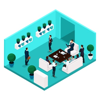 部屋の背面図、大規模なオフィスルーム、会議、議論、ブレーンストーミング、ビジネス、および分離されたスーツのビジネス女性を伝えるトレンド等尺性の人々