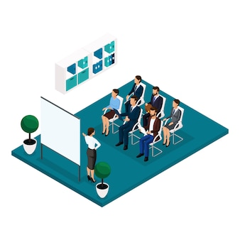 Trend isometric people learning concept front view, coachers, training, lecture, meeting, brainstorm, businessmen and businesswoman in suits