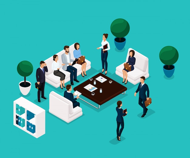 Trend isometric people, a room discussing a front view, business concept, discussion, brainstorming, businessmen in suits stylish