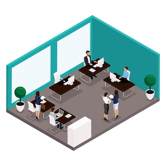 Trend isometric people, a room, an office rear view of a large office room, work, office workers, businessmen and businesswoman in suits isolated