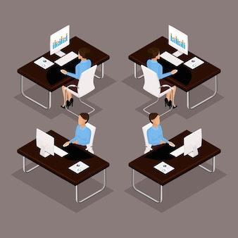 トレンド等尺性人セット、ラップトップの正面、背面、スタイリッシュな髪型、分離されたスーツのオフィスワーカーの男の机で働く3 dビジネス女性。ベクトルイラスト