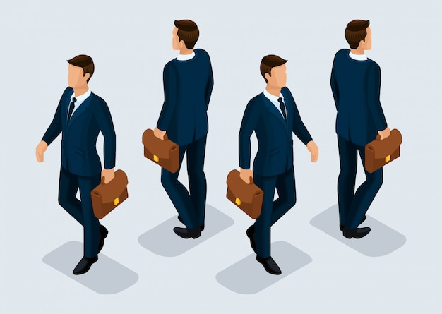 Trend isometric people set, 3d businessmen in business suits, people gestures, front view and rear view