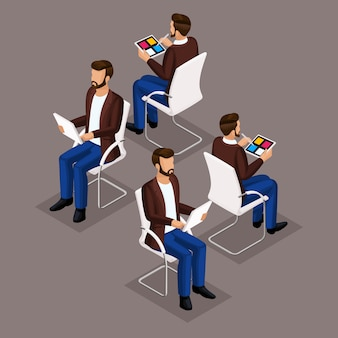 Trend isometric people set, 3d businessmen in suits, sitting on a chair, front view and rear view isolated. vector illustration