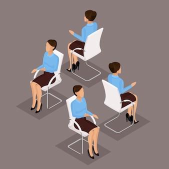 トレンド等尺性人セット、ビジネススーツ、椅子に座っている3 d実業家、正面図と分離された背面図。ベクトル図