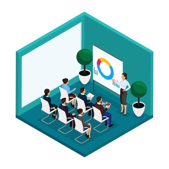 Trend isometric people, training room rear view, coachers, training, lecture, meeting, brainstorm, businessmen and businesswoman in suits isolated. vector illustration