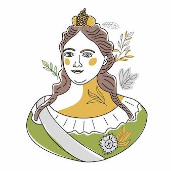 ピョートル大帝の姪であり、ロシア帝国の皇后であるアンナ・イオアンノフナ・ロマノワのトレンドラインイラスト。歴史的なドレスを着た歴史上の人物の女性の肖像画。