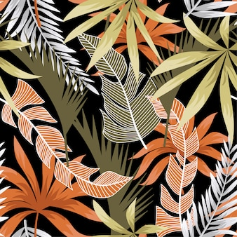 Trend seamless pattern with bright tropical leaves and plants