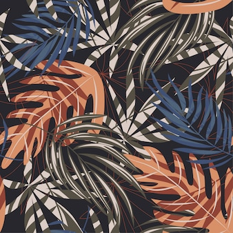 Trend seamless pattern with colorful tropical leaves and plants on brown background