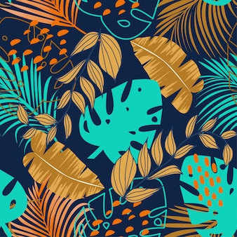 Trend seamless pattern with colorful tropical leaves and plants on purple
