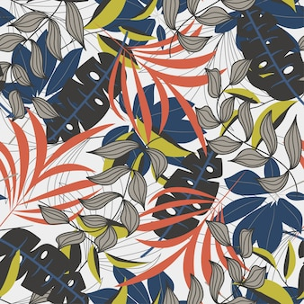 Trend seamless pattern with colorful tropical leaves and plants on white background